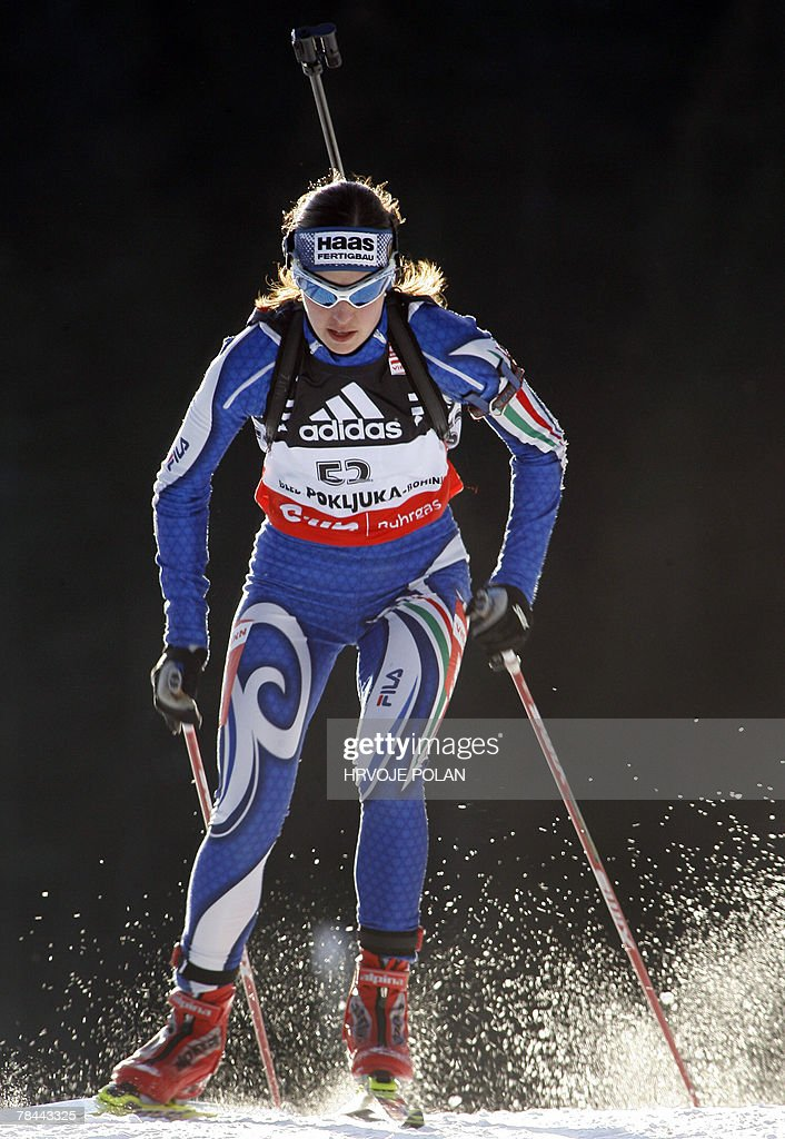 Michela Ponza of Italy competes during the women's biathlon World Cup 15 km individual race in Pokljuka, 13 December 2007. Ponza placed second of the event behing Russia's Ekaterina Iourieva and ahead of Germany's Martina Glagow.