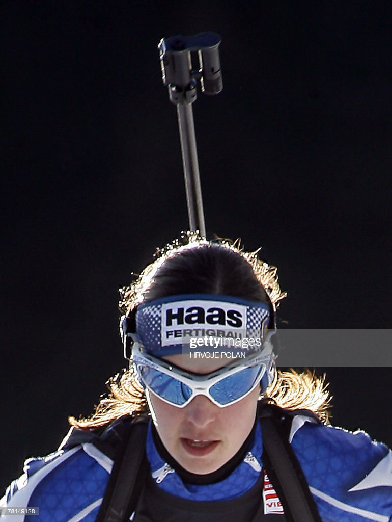 Michela Ponza of Italy competes during the women's biathlon World Cup 15 km individual race in Pokljuka, 13 December 2007. Ponza finished at second place. AFP PHOTO/ HRVOJE POLAN