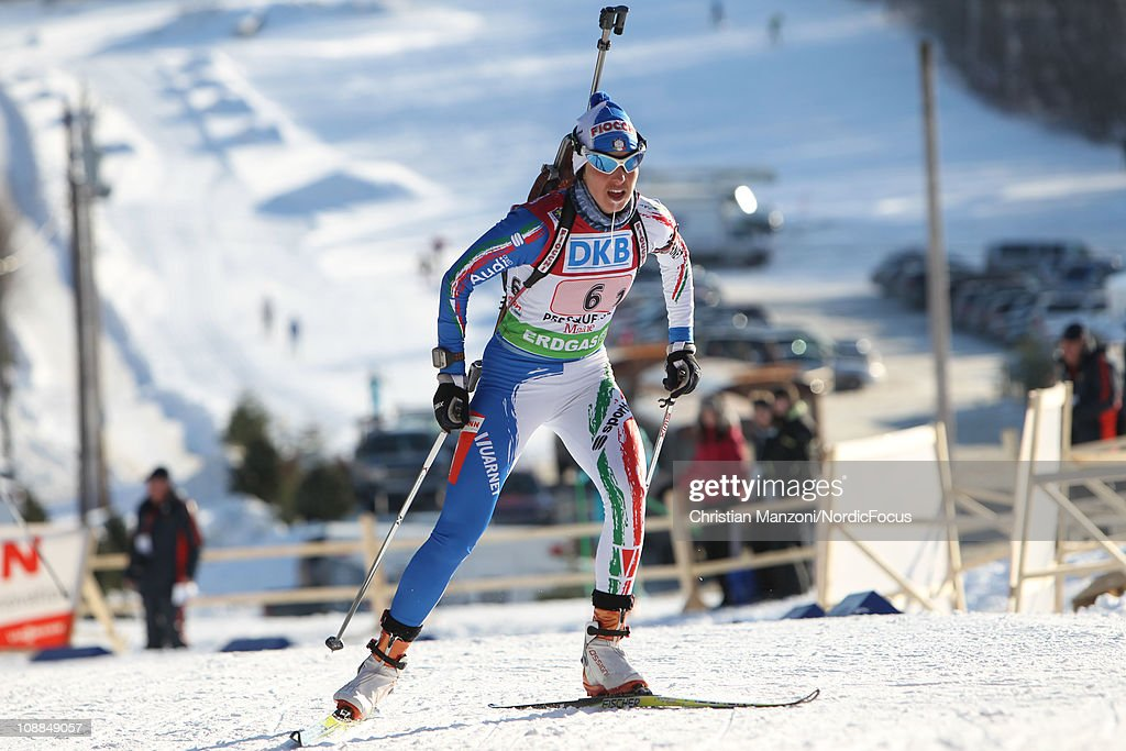 <a gi-track='captionPersonalityLinkClicked' href=/galleries/search?phrase=Michela+Ponza&family=editorial&specificpeople=813639 ng-click='$event.stopPropagation()'>Michela Ponza</a> of Italy competes in the mixed relay during the E.ON IBU Biathlon World Cup on February 5, 2011 in Presque Isle, Maine.