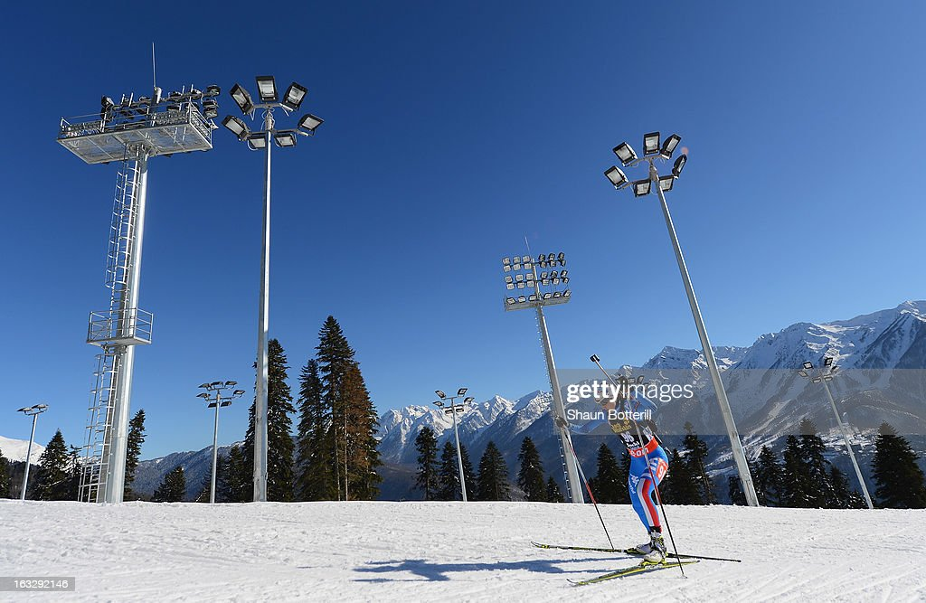 Michela Ponza of Italy competes in the Women's 15km Individual Event during the E ON IBU Biathlon World Cup at the 'Laura' Biathlon Ski Complex on...
