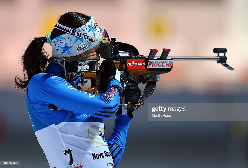 <a gi-track='captionPersonalityLinkClicked' href=/galleries/search?phrase=Michela+Ponza&family=editorial&specificpeople=813639 ng-click='$event.stopPropagation()'>Michela Ponza</a> of Italy competes in the Women's 4 x 6km Relay in the IBU Biathlon World Championships at Vysocina Arena on February 15, 2013 in Nove Mesto na Morave, Czech Republic.