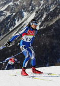 Michela Ponza of Italy competes in the Womens Biathlon 15km Individual Final on Day 3 of the 2006 Turin Winter Olympic Games on February 13 2006 in...