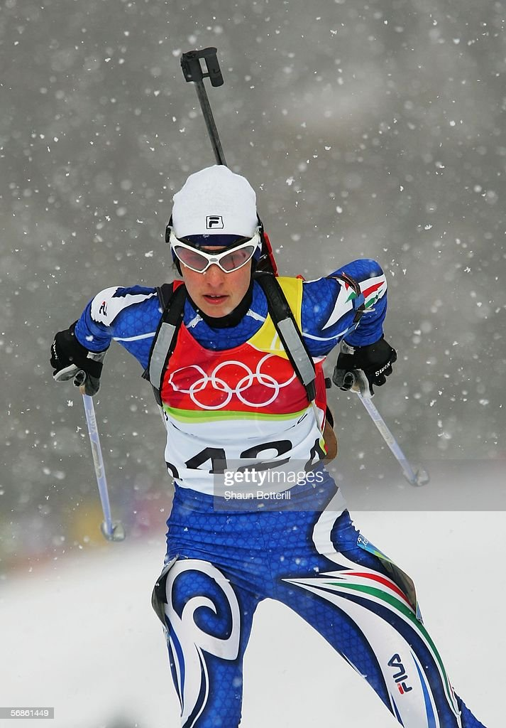Michela Ponza of Italy competes in the Womens Biathlon 75km Sprint Final on Day 6 of the 2006 Turin Winter Olympic Games on February 16 2006 in...