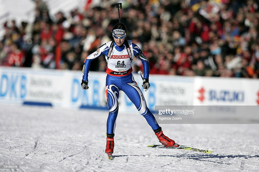 Michela Ponza of Italy competes on her way to placing sixth during the IBU Biathlon World Championships Biathlon Ladies Sprint 7.5km event on February 3, 2007 in Antholz, Italy.