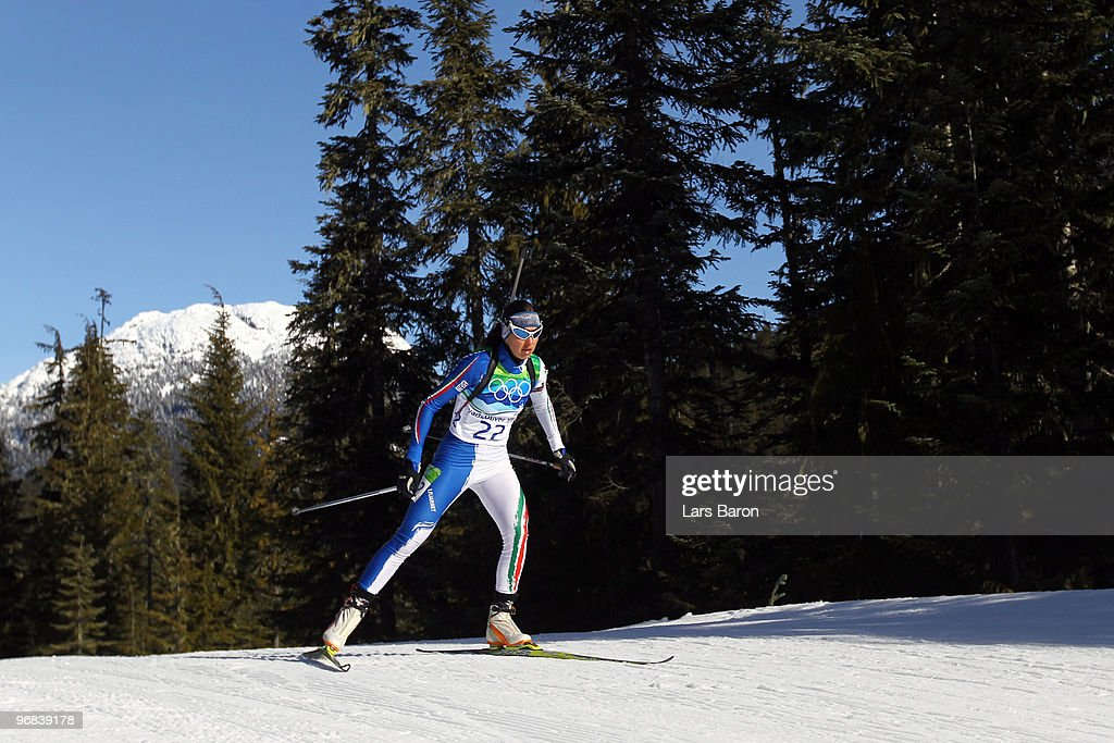 Michela Ponza of Italy during the Biathlon Women's 15 km individual on day 7 of the 2010 Vancouver Winter Olympics at Whistler Olympic Park Biathlon...