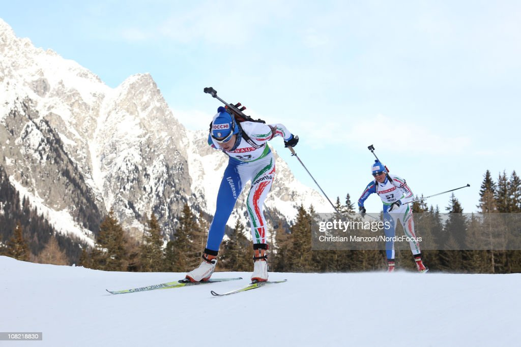 Michela Ponza of Italy leads teammate Karin Oberhofer of Italy in the women's sprint during the EON IBU Biathlon World Cup on January 21 2011 in...