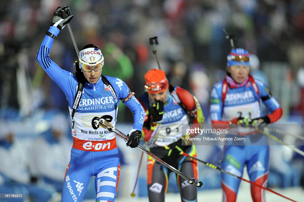 Michela Ponza of Italy takes 3rd place during the IBU Biathlon World Championship Women's 4x6km Relay on February 15 2013 in Nove Mesto Czech Republic