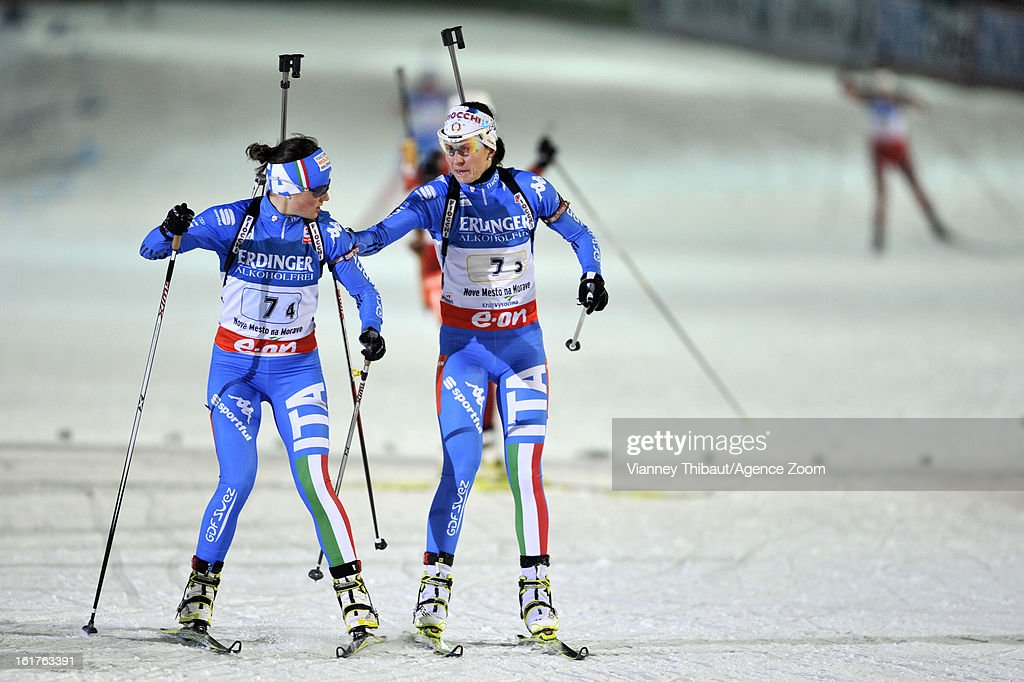 <a gi-track='captionPersonalityLinkClicked' href=/galleries/search?phrase=Michela+Ponza&family=editorial&specificpeople=813639 ng-click='$event.stopPropagation()'>Michela Ponza</a> of Italy takes 3rd place, Karin Oberhofer of Italy takes 3rd place during the IBU Biathlon World Championship Women's 4x6km Relay on February 15, 2013 in Nove Mesto, Czech Republic.
