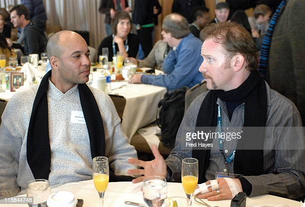 Michelange Quay and Morgan Spurlock attend the Director's Brunch at the Sundance Resort during the 2008 Sundance Film Festival on January 19 2008 in...