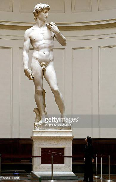 Michelangelo's famous marble statue of 'David' is bathed in natural light streaming through the dome of Florence's Accademia Gallery 24 May 2004 The...