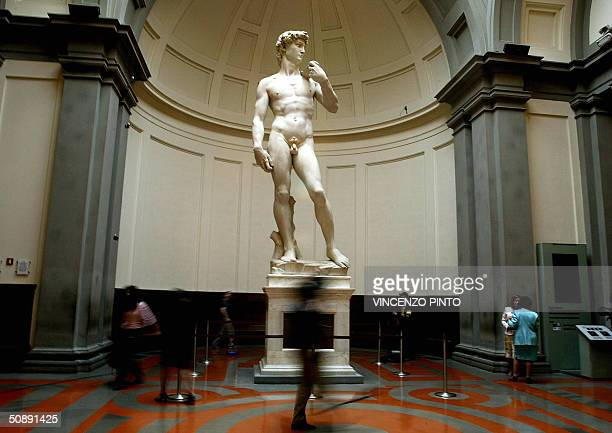 Michelangelo's famous marble statue of 'David' is pictured at the Florence's Accademia Gallery 24 May 2004 The statue of 'David' has been cleaned up...