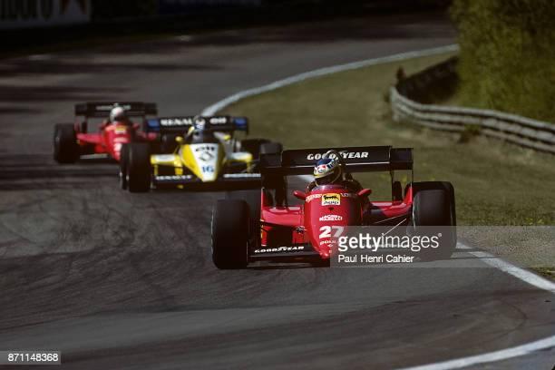 Michele Alboreto Derek Warwick René Arnoux Ferrari 126C4 Renault RE50 Grand Prix of Belgium Circuit Zolder 29 April 1984 Michele Alboreto leading the...