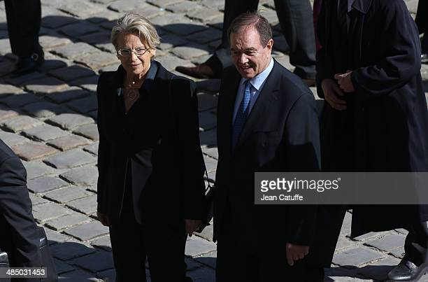 Michele AlliotMarie and Patrick Ollier attend the National Tribute honoring the late journalist then politician Dominique Baudis at Hotel des...