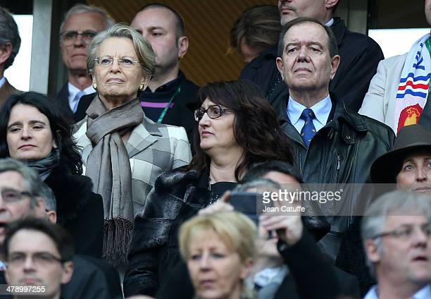 Michele AlliotMarie and Patrick Ollier attend the RBS Six Nations match between France and Ireland at the Stade de France on March 15 2014 in...