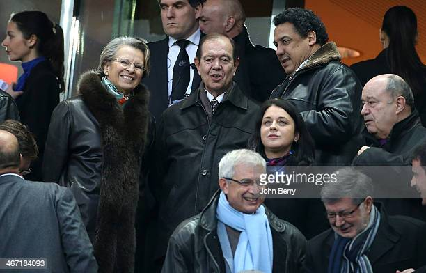 Michele AlliotMarie her husband Patrick Ollier Serge Blanco attend the RBS Six Nations rugby match between France and England at the Stade de France...