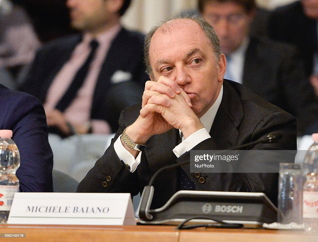 Michele Baiano during Memorandum of Understanding signed at the Farnesina to promote Italian excellence abroad Rome on March 15 2016