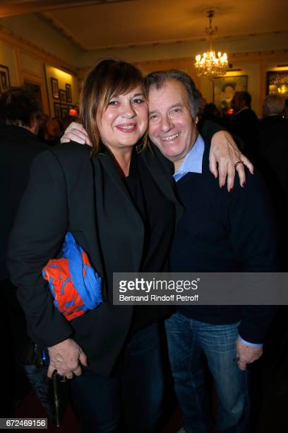 Michele Bernier and Actor of the play Daniel Russo attend 'La Recompense' Theater Play at Theatre Edouard VII on April 24 2017 in Paris France