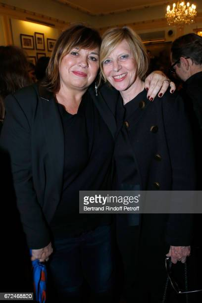 Michele Bernier and Chantal Ladesou attend 'La Recompense' Theater Play at Theatre Edouard VII on April 24 2017 in Paris France