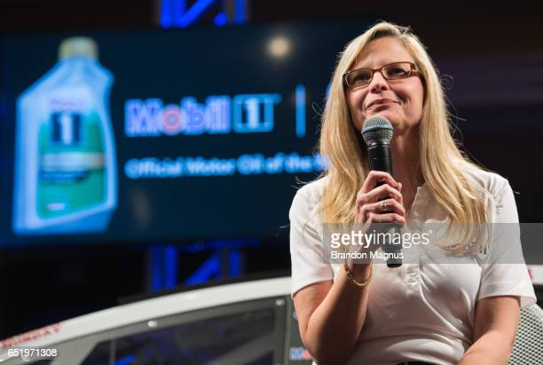 Michele Biamonte automotive marketing manager for ExxonMobil speaks to the media during the Mobil 1 Annual Protection Las Vegas Launch Event inside...