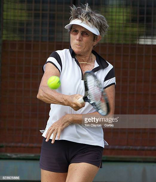 Michele Bichon France in action in the 65 Womens Singles during the 2009 ITF SuperSeniors World Team and Individual Championships at Perth Western...