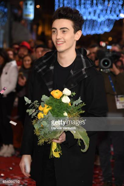 Michele Bravi walks a red carpet for the 67 Sanremo Festival at Teatro Ariston on February 6 2017 in Sanremo Italy