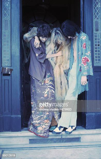Michele Breton Anita Pallenberg and Mick Jagger on the set of Donald Cammell and Nicolas Roeg's psychological thriller 'Performance' 1968