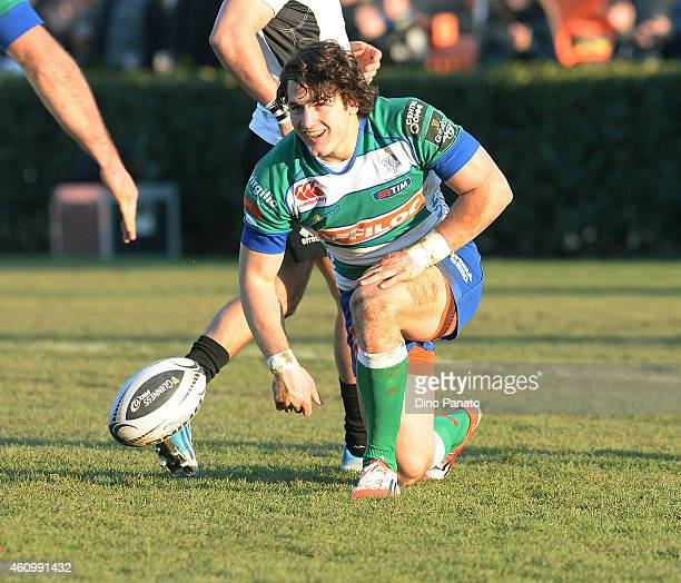 Michele Campagnaro of Benetton Treviso celebrates scoring a try during the Guinness Pro 12 match between Benetton Treviso and Zebre Parma at Stadio...