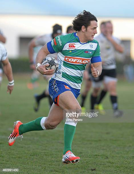 Michele Campagnaro of Benetton Treviso runs in to score a try during the Guinness Pro 12 match between Benetton Treviso and Zebre Parma at Stadio...