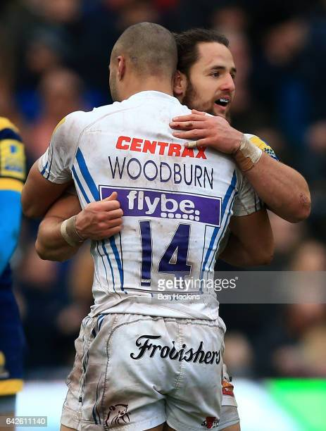 Michele Campagnaro of Exeter celebrates with tea mates after scoring a try during the Aviva Premiership match between Worcester Warriors and Exeter...