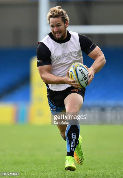 Michele Campagnaro of Exeter Chiefs makes a break during a training session ahead of the Aviva Premiership Final against Wasps at Sandy Park on May...