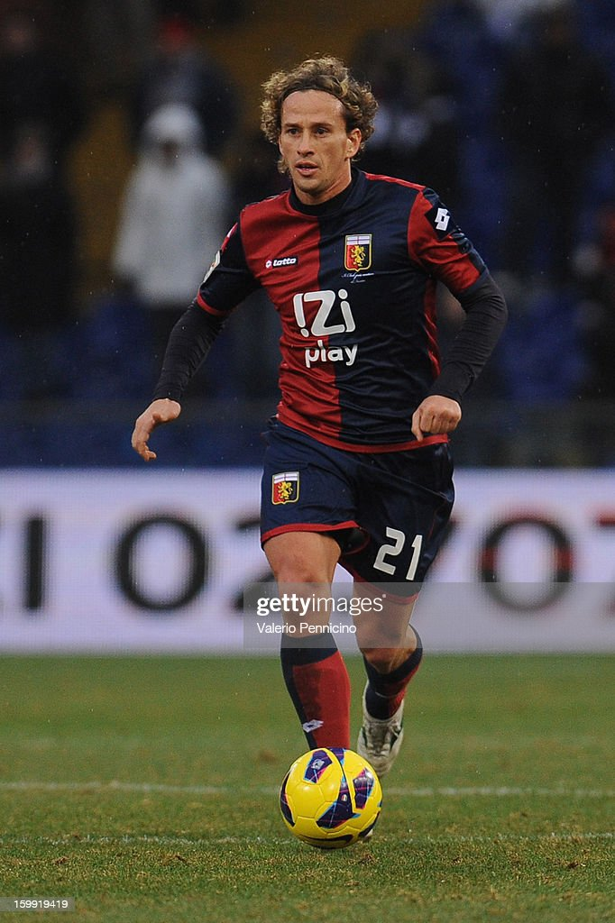 Michele Canini of Genoa CFC in action during the Serie A match between Genoa CFC and Calcio Catania at Stadio Luigi Ferraris on January 20, 2013 in Genoa, Italy.