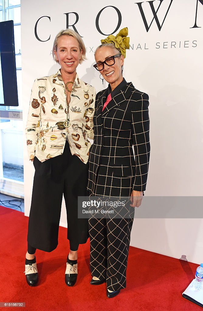 Michele Clapton (L) and Caryn Franklin attend a presentation featuring costumes from new Netflix Original series 'The Crown' with designer Michele Clapton at the ICA on October 17, 2016 in London, England.