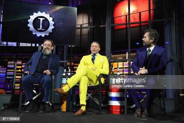 Michele De Lucchi Lapo Elkann and Carlo Cracco attend Opening Garage Italia Milano press conference on November 7 2017 in Milan Italy