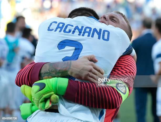 Michele Di Gregorio of FC Internazionale Milano celebrates the victory with his team mate Andrea Cagnano at the end of the Primavera TIM Playoffs...