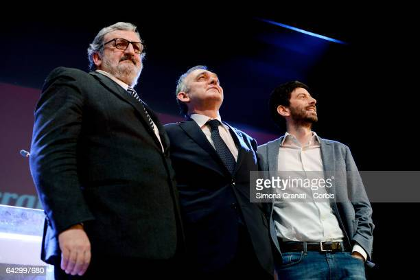 Michele Emiliano Enrico Rossi and Roberto Speranza during the assembly in Teatro Vittoria in Rome of the minority of Democratic Party organized by...