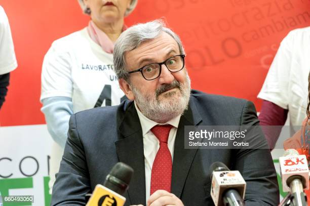 Michele Emiliano governor of Puglia attends the inauguration of his election committee for the primaries of the Democratic Party on March 29 2017 in...