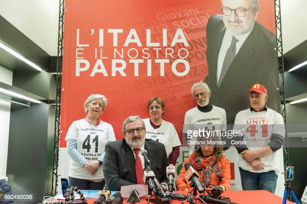 Michele Emiliano governor of Puglia with a group of temporary workers during the inauguration of his election committee for the primaries of the...