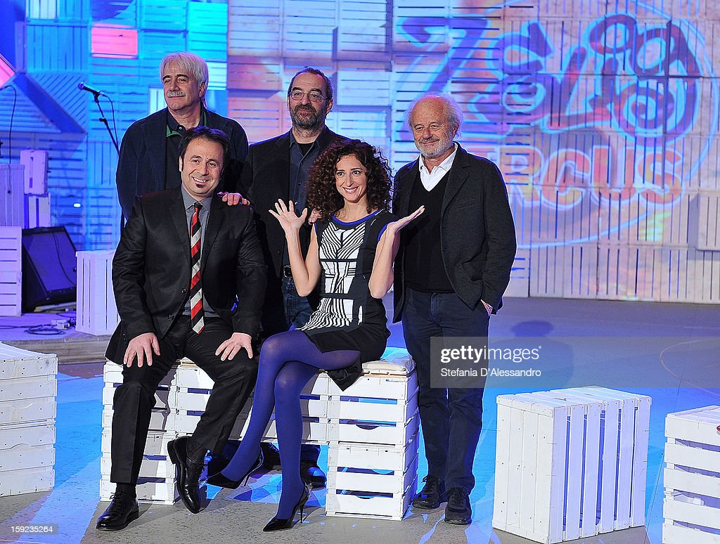 Michele Foresta, Teresa Mannino, Gino Vignali and Michele Mozzati attend 'Zelig Circus 2013' Italian TV Show Photocall on January 10, 2013 in Milan, Italy.