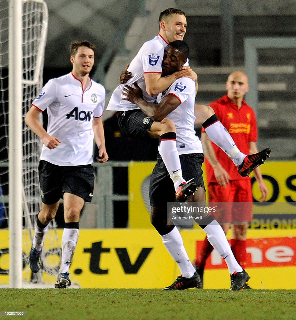 Michele Fornasier of Manchester United Reserves celebrates after scoring the opening goal in injury time during the Barclays Premier Reserve League match between Liverpool Reserves and Manchester United at Langtree Park on February 25, 2013 in St Helens, England.