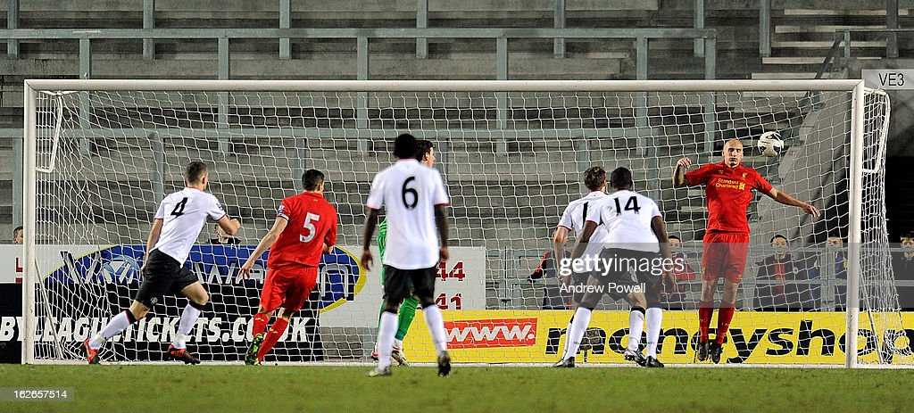 Michele Fornasier of Manchester United Reserves scores the opening goal in injury time during the Barclays Premier Reserve League match between Liverpool Reserves and Manchester United at Langtree Park on February 25, 2013 in St Helens, England.