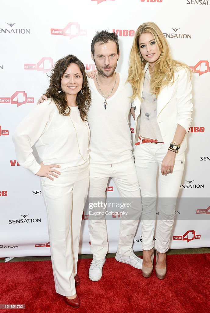 Michele Giordano, Sensation CEO Duncan Stutterheim and Model <a gi-track='captionPersonalityLinkClicked' href=/galleries/search?phrase=Doutzen+Kroes&family=editorial&specificpeople=859655 ng-click='$event.stopPropagation()'>Doutzen Kroes</a> attend the dance4life USA Cocktail Party Supported By Sensation at Milk Studios on October 27, 2012 in New York City.