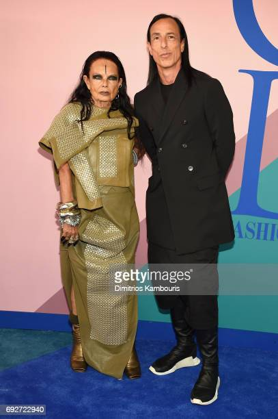 Michele Lamy and designer Rick Owens attend the 2017 CFDA Fashion Awards at Hammerstein Ballroom on June 5 2017 in New York City