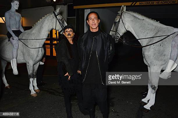 Michele Lamy and Rick Owens attend the party to celebrate the World of Rick Owens at Selfridges during London Fashion Week at Selfridges on September...