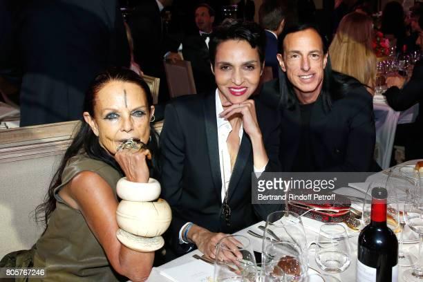 Michele Lamy Farida Khelfa Seydoux and Rick Owens attend the amfAR Paris Dinner 2017 at Le Petit Palais on July 2 2017 in Paris France