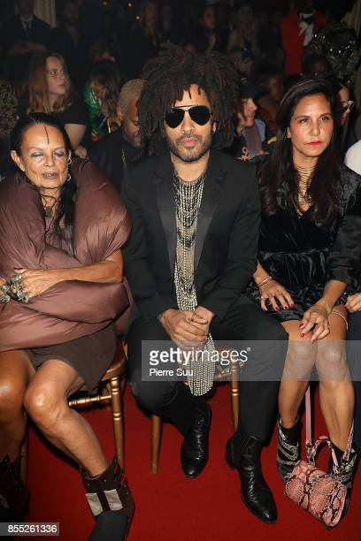 Michele Lamy Lenny Kravitz and Laurie Lynn Stark attend the Off/White show as part of the Paris Fashion Week Womenswear Spring/Summer 2018 on...