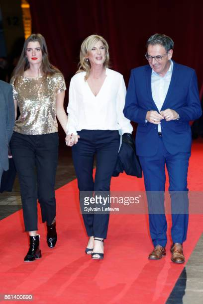 Michele Laroque and her daughter Oriane Deschamps and David Kimelfeld attends opening ceremony of 9th Film Festival Lumiere In Lyon on October 14...