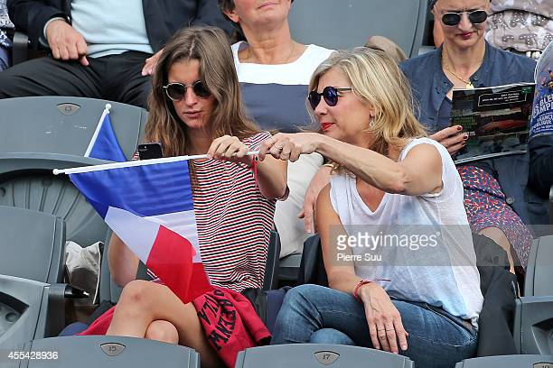 Michele Laroque and her daughter Oriane Deschamps attend the Davis Cup Semifinal France vs Czech Republic at Roland Garros on September 14 2014 in...