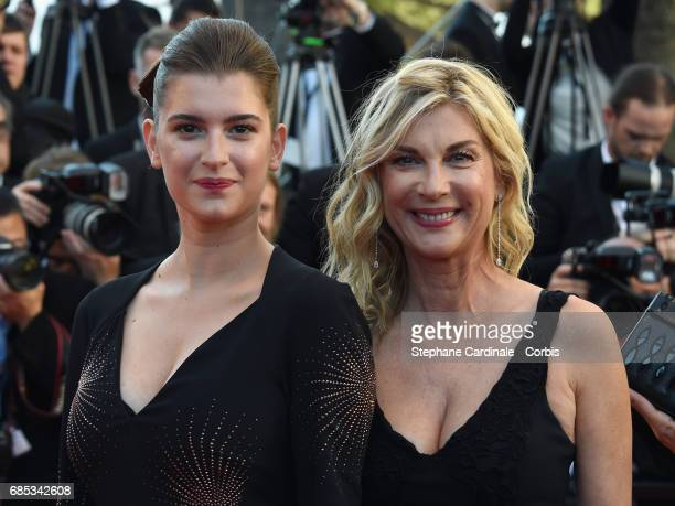 Michele Laroque and Oriane Deschamps attend the 'Okja' premiere during the 70th annual Cannes Film Festival at Palais des Festivals on May 19 2017 in...