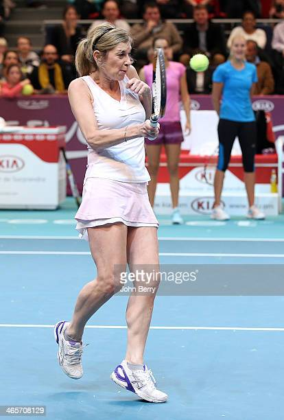 Michele Laroque in action during the Amelie Mauresmo Tennis Night to benefit the 'Institut Curie' to fight cancer during the 22nd Open GDF Suez held...