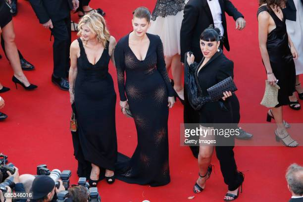Michele Laroque Oriane Deschamps and Rossy de Palma attend the 'Okja' screening during the 70th annual Cannes Film Festival at Palais des Festivals...